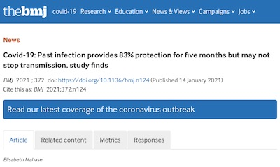BMJ: 83% efficacy of 'natural' COVID-19 immunity