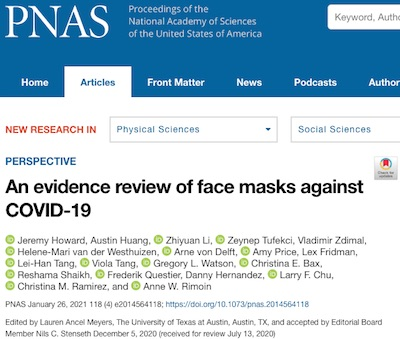PNAS: Proper wearing of masks has prevention efficacy ~ 70% - 80%