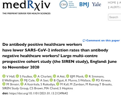 SIREN: 83% efficacy of 'natural' COVID-19 immunity