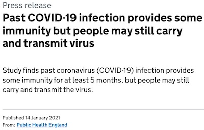 Public Health England: 83% efficacy of 'natural' COVID-19 immunity
