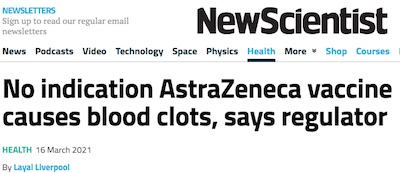 New Scientist: No relation between AZ/OX vaccine and clots