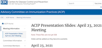ACIP: slides for talks about JnJ risk model and recommendations
